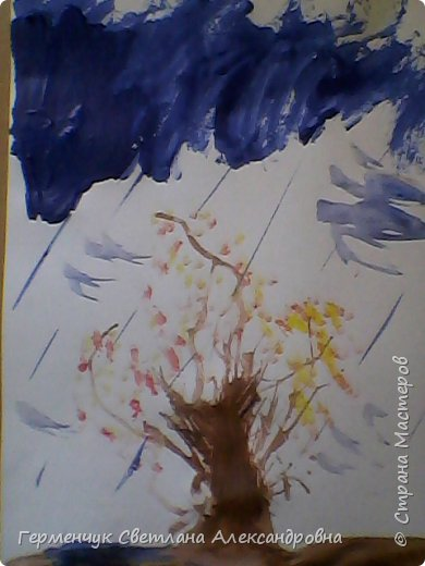 """""""Осенние деревья"""" Стволы  деревьев и веточки  кустов  нарисованы с помощью выдувания  краски коктейльной  трубочкой.Работы учащихся 4""""В"""" класса фото 14"""