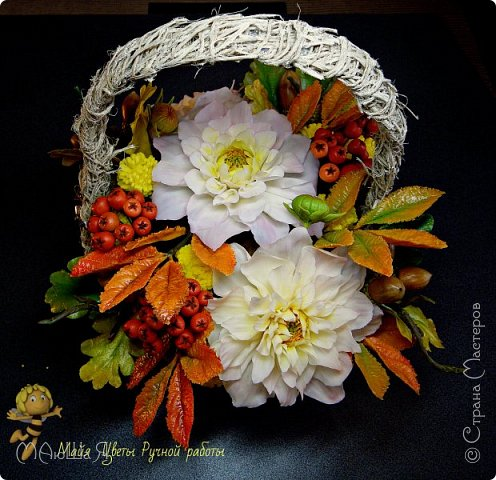 Осенняя композиция из холодного фарфора фото 1