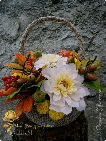 Осенняя композиция из холодного фарфора фото 7