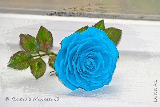 Роза выполнена из зефирного фоамирана голубого цвета, без тонировки. фото 2