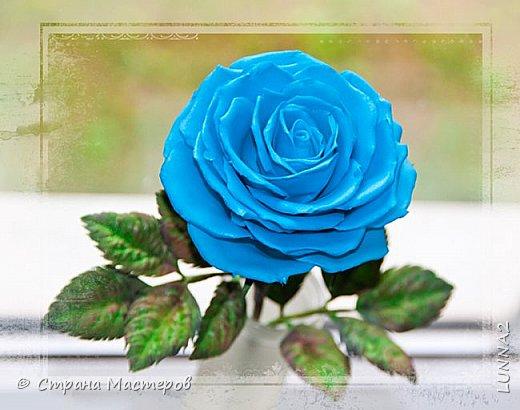 Роза выполнена из зефирного фоамирана голубого цвета, без тонировки. фото 1
