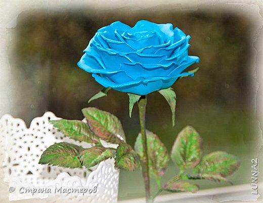 Роза выполнена из зефирного фоамирана голубого цвета, без тонировки. фото 5