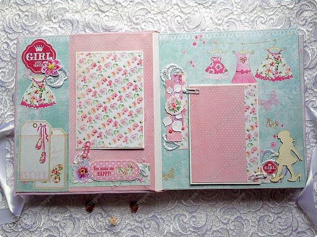 """Альбом для девочки попросили сделать в подарок на день рождения. Выбрала бумагу из коллекции Bee Shebby """"Sweet GERL"""". Очень она мне понравилась! фото 2"""