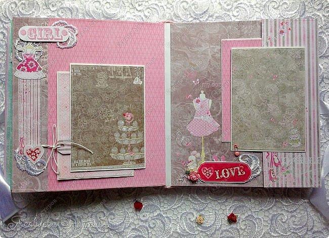 """Альбом для девочки попросили сделать в подарок на день рождения. Выбрала бумагу из коллекции Bee Shebby """"Sweet GERL"""". Очень она мне понравилась! фото 5"""
