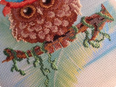 Добрый день дорогие гости и жители нашей Страны!!! Вот решила показать вам вышивку, которую сделала одному замечательному человечку нашей Страны!!! Совушка с пироженкой!!!  фото 7
