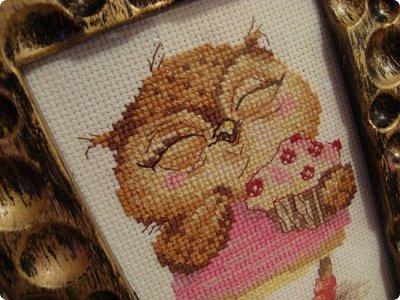 Добрый день дорогие гости и жители нашей Страны!!! Вот решила показать вам вышивку, которую сделала одному замечательному человечку нашей Страны!!! Совушка с пироженкой!!!  фото 1