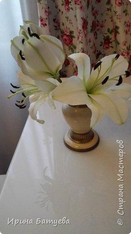 Это продолжение мастер-класса по белой лилии. В первой части мы сделали цветок лилии: http://stranamasterov.ru/node/1055126 . Здесь мы будем учиться делать листики, бутоны, а также собирать все это в ветку. фото 4