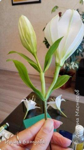 Это продолжение мастер-класса по белой лилии. В первой части мы сделали цветок лилии: http://stranamasterov.ru/node/1055126 . Здесь мы будем учиться делать листики, бутоны, а также собирать все это в ветку. фото 28