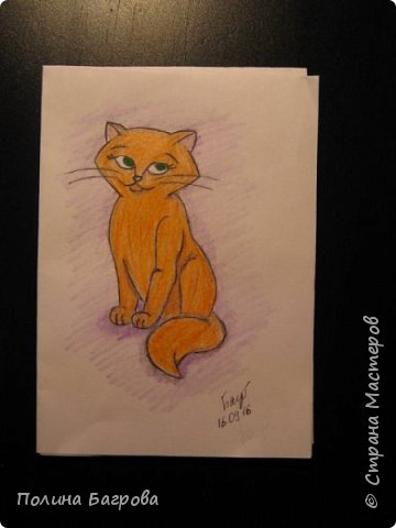 Здравствуйте! Мои эксперименты в рисовании котов. Рыженькая кошечка фото 1