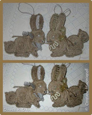 Примитивные плоские елочные игрушки из шпагата фото 16