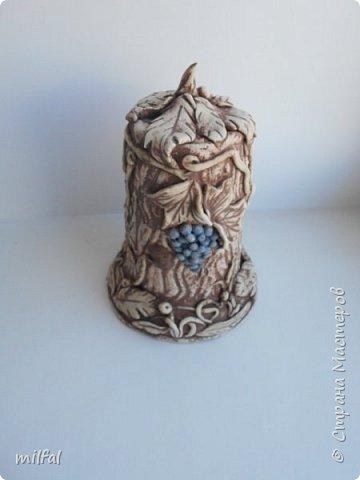 Ваза из картонной трубы. Материалы: шпаклёвка с гипсом,солёное тесто,клей,краски,лак акриловый. фото 14