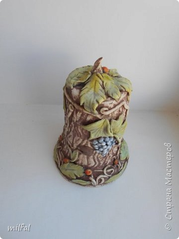 Ваза из картонной трубы. Материалы: шпаклёвка с гипсом,солёное тесто,клей,краски,лак акриловый. фото 12