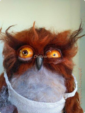 Картинка этой совы давно привлекала моё внимание. Наконец я решила изобразить сонную сову из шерсти. фото 8