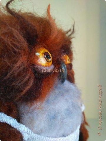 Картинка этой совы давно привлекала моё внимание. Наконец я решила изобразить сонную сову из шерсти. фото 7