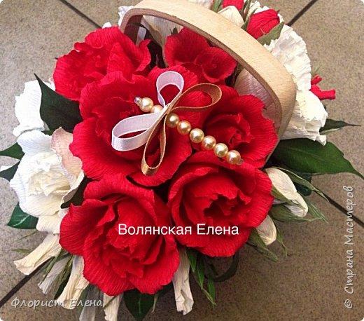 """Корзинка с конфетными цветами""""Белые маки"""" фото 6"""