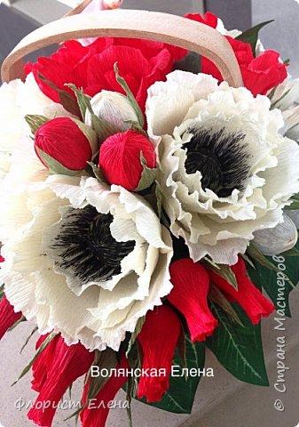 """Корзинка с конфетными цветами""""Белые маки"""" фото 1"""