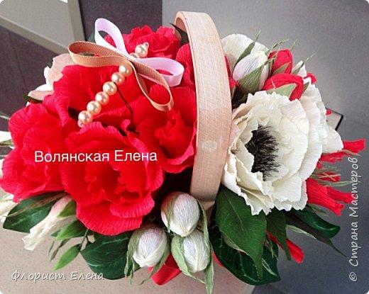 """Корзинка с конфетными цветами""""Белые маки"""" фото 4"""