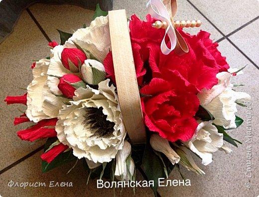 """Корзинка с конфетными цветами""""Белые маки"""" фото 5"""