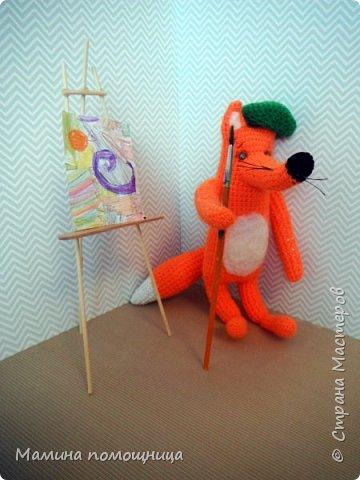 Всем привет! Навязала несколько игрушек на продажу. Оказались дочке моей они очень нужны)). Покажу что связала с ссылками на МК. Лис-художник http://kumutushka.blogspot.ru/2014/10/blog-post.html фото 1