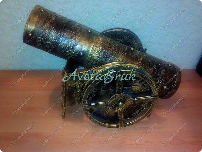 Доброе утро, Страна! Покажу недавние поделки. Эта пушка - подарок деду на 80-летний юбилей. Делала по этому МК http://stranamasterov.ru/node/307729?c=favorite  фото 2
