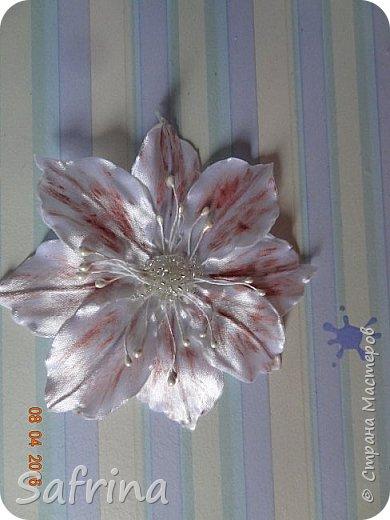 Цветочки из атласной ленты.В лепестки вставлена тонкая проволока,с помощью которой можно придать любую форму цветку. фото 3
