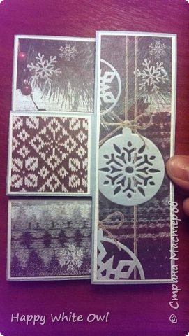 """Здравствуйте, дорогие друзья!  Сегодня покажу Вам открытку с бумагой от АртУзора """"Уютный Новый год"""". Очень понравилась эта цветовая гамма.  Такую конструкцию, я думаю, уже многое встречали.  фото 7"""