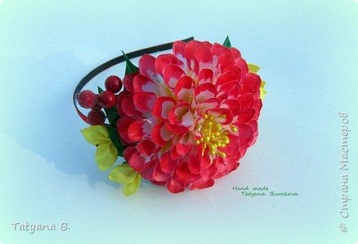 Ободок канзаши с крупной хризантемой