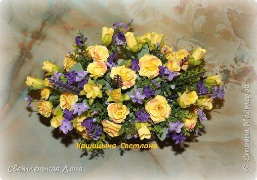Композиция из роз в керамическом вазоне-сумочке, высота 21 см, длина 30 см фото 2