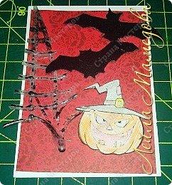 """Всем доброго времени суток!!! Серия карточек для обмена. Этап №1 """"Хэллоуин"""". Выбирают участники Совместника http://stranamasterov.ru/node/1055187?c=favorite . Пыталась имитировать паутину. фото 4"""