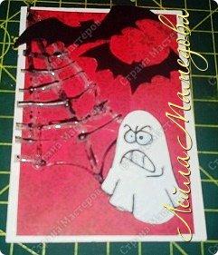 """Всем доброго времени суток!!! Серия карточек для обмена. Этап №1 """"Хэллоуин"""". Выбирают участники Совместника http://stranamasterov.ru/node/1055187?c=favorite . Пыталась имитировать паутину. фото 7"""