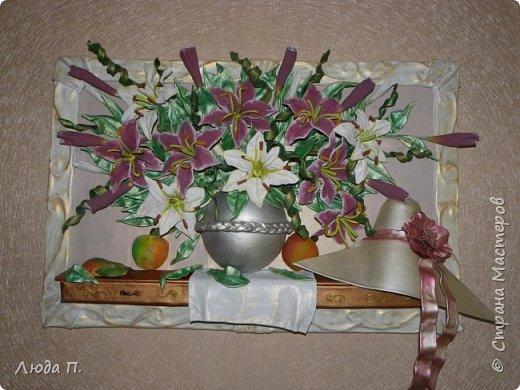 """Картина из кожи """"Натюрморт с лилиями"""" фото 1"""