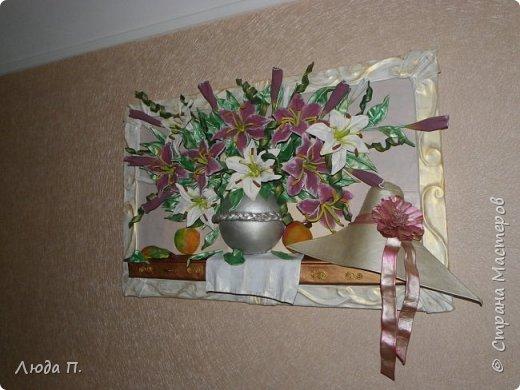 """Картина из кожи """"Натюрморт с лилиями"""" фото 5"""