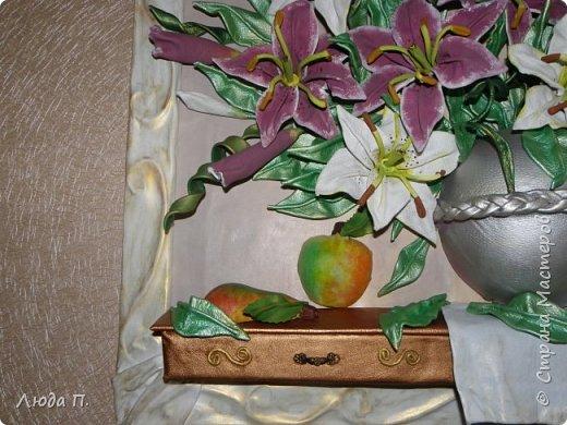 """Картина из кожи """"Натюрморт с лилиями"""" фото 7"""