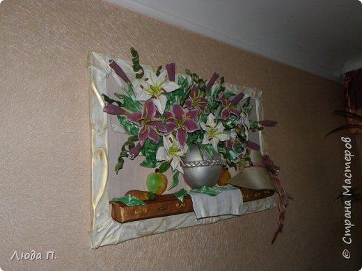 """Картина из кожи """"Натюрморт с лилиями"""" фото 8"""
