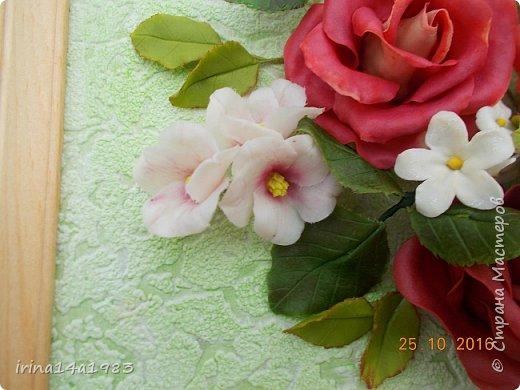 Всем добрый день!!!! И снова у меня розы(набиваю руку). Все розы двуцветные, кроме самой темной. Спасибо Наталье Бурцевой, впервые увидела у нее. Но раскатываю лепестки по своему.  фото 11