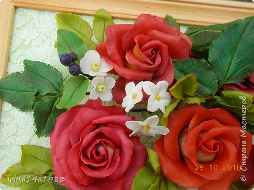 Всем добрый день!!!! И снова у меня розы(набиваю руку). Все розы двуцветные, кроме самой темной. Спасибо Наталье Бурцевой, впервые увидела у нее. Но раскатываю лепестки по своему.  фото 7
