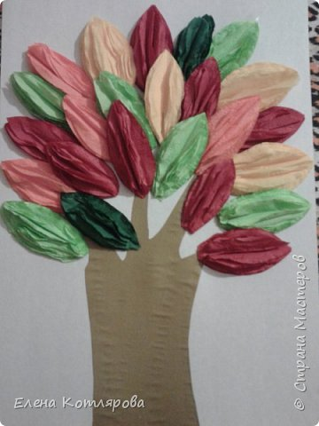 Осеннее дерево из салфеток фото 2