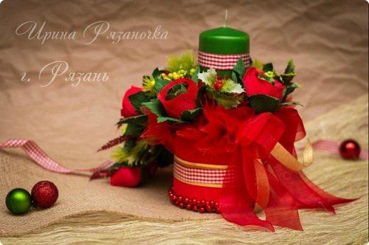 Всем здравствуйте! Вот так вот - впервые пришлось делать что то новогоднее аж в сентябре)))  Рождественская композиция со свечой в классической гамме  фото 4