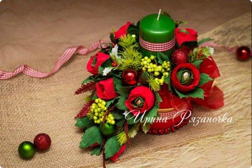 Всем здравствуйте! Вот так вот - впервые пришлось делать что то новогоднее аж в сентябре)))  Рождественская композиция со свечой в классической гамме  фото 3