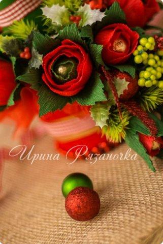 Всем здравствуйте! Вот так вот - впервые пришлось делать что то новогоднее аж в сентябре)))  Рождественская композиция со свечой в классической гамме  фото 7