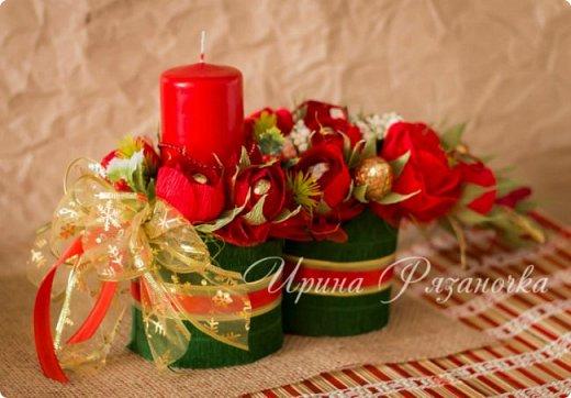 Всем здравствуйте! Вот так вот - впервые пришлось делать что то новогоднее аж в сентябре)))  Рождественская композиция со свечой в классической гамме  фото 11