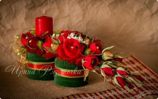 Всем здравствуйте! Вот так вот - впервые пришлось делать что то новогоднее аж в сентябре)))  Рождественская композиция со свечой в классической гамме  фото 10