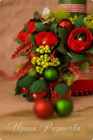 Всем здравствуйте! Вот так вот - впервые пришлось делать что то новогоднее аж в сентябре)))  Рождественская композиция со свечой в классической гамме  фото 9