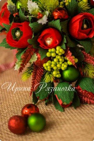 Всем здравствуйте! Вот так вот - впервые пришлось делать что то новогоднее аж в сентябре)))  Рождественская композиция со свечой в классической гамме  фото 1