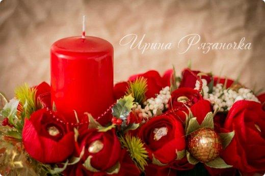 Всем здравствуйте! Вот так вот - впервые пришлось делать что то новогоднее аж в сентябре)))  Рождественская композиция со свечой в классической гамме  фото 12