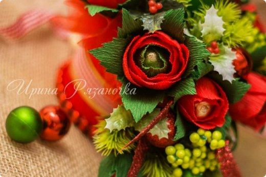 Всем здравствуйте! Вот так вот - впервые пришлось делать что то новогоднее аж в сентябре)))  Рождественская композиция со свечой в классической гамме  фото 6