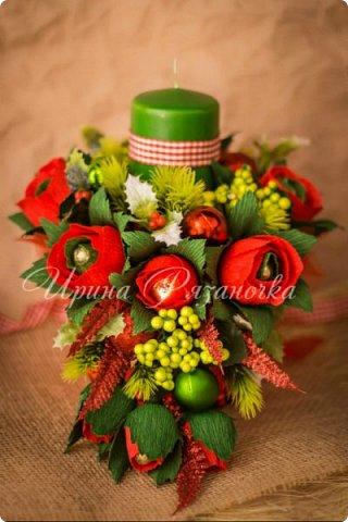 Всем здравствуйте! Вот так вот - впервые пришлось делать что то новогоднее аж в сентябре)))  Рождественская композиция со свечой в классической гамме  фото 5