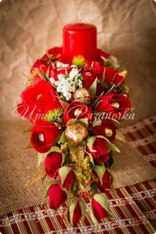 Всем здравствуйте! Вот так вот - впервые пришлось делать что то новогоднее аж в сентябре)))  Рождественская композиция со свечой в классической гамме  фото 15