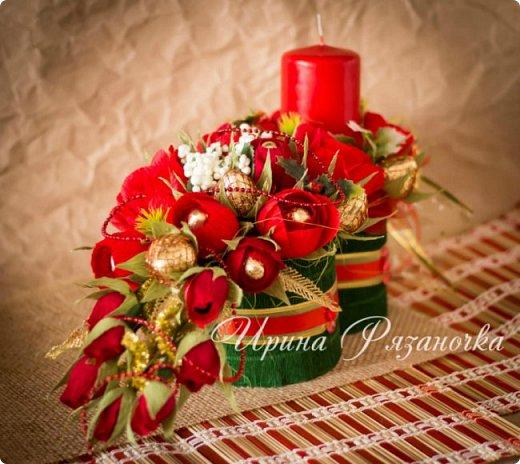 Всем здравствуйте! Вот так вот - впервые пришлось делать что то новогоднее аж в сентябре)))  Рождественская композиция со свечой в классической гамме  фото 14