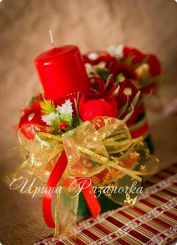 Всем здравствуйте! Вот так вот - впервые пришлось делать что то новогоднее аж в сентябре)))  Рождественская композиция со свечой в классической гамме  фото 16